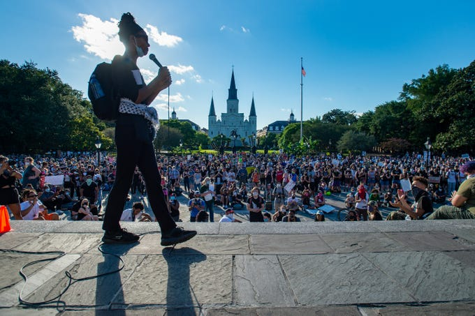 Protesters fill the streets around Jackson Square in the French Quarter on Friday, June 5, 2020, to demonstrate against the killing of George Floyd by Minneapolis police and broader issues of police brutality.