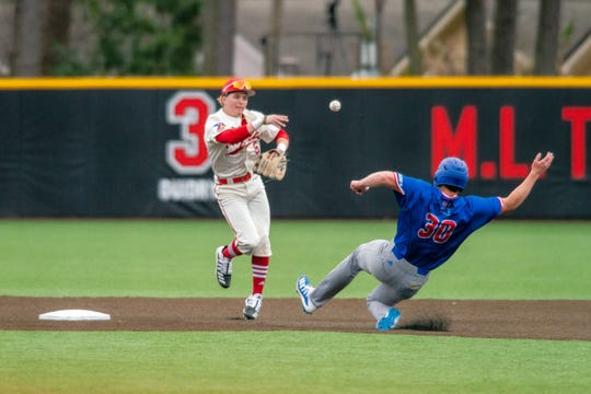 "UL shortstop Hayden Cantrelle turns a double play during a February game against Louisiana Tech on M.L. ""Tigue"" Moore Field at Russo Park."