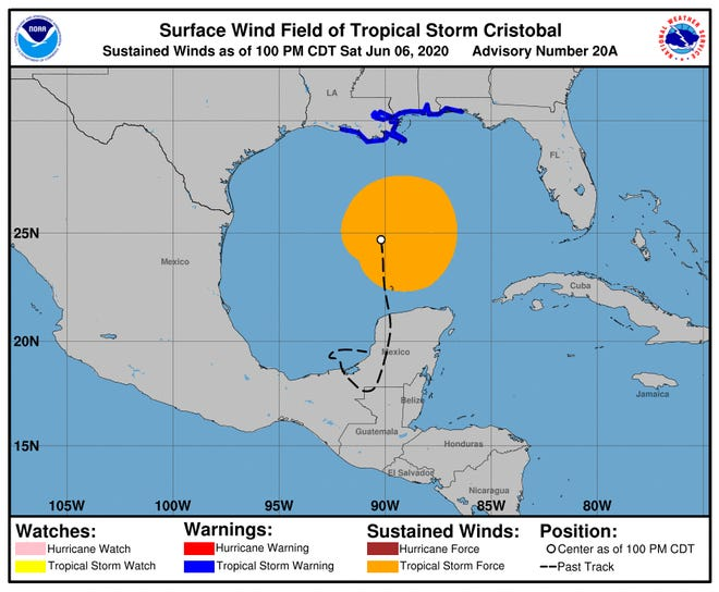 Tropical Storm Cristobal is predicted to approach the U.S. Gulf Coast on Sunday, and the center of the storm is expected to move inland across Louisiana late Sunday and Monday morning.
