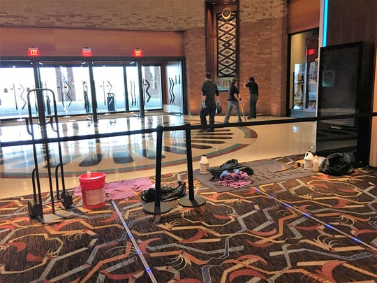 Personnel complete deep clean the front entrance inside the Northern Edge Casino in Upper Fruitland.