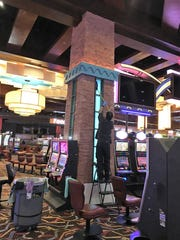 Personnel clean the interior of the Northern Edge Casino in Upper Fruitland.