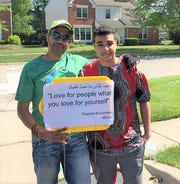 Saamih and Kareem Bashir participated in Saturday's rally through Sunflower subdivision.