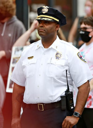 """York City Police Commissioner Osborne """"Moe"""" Robinson III as community members gather in Continental Square in peaceful protest for George Floyd, to remember those who have died at the hands of police and to celebrate the communication experienced throughout the week between community members and officials in York City, Friday, June 5, 2020. Dawn J. Sagert photo"""