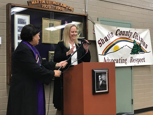 Shasta County District Attorney Attorney Stephanie Bridgett, right, and ordained minister Rev. Lynn Fritz, left. Both spoke during an event on Friday at the Martin Luther King, Jr. Center in Redding.