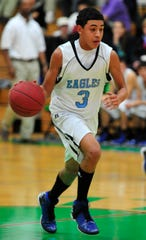 TLCA's Trey Mayberry dribbles the ball to the net in Tuesday's game against Eldorado on Jan.8, 2013, in Wall.