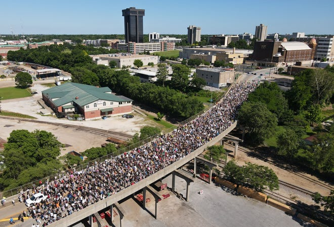 Protesters fill the Martin Luther King Jr. Bridge in downtown Springfield on June 6, 2020.