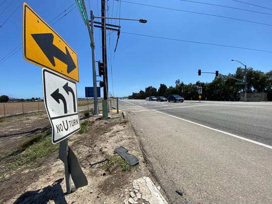 Debris was visible on the northbound shoulder of Rice Avenue at Channel Islands Boulevard after fatal accident at the intersection on June 6, 2020.