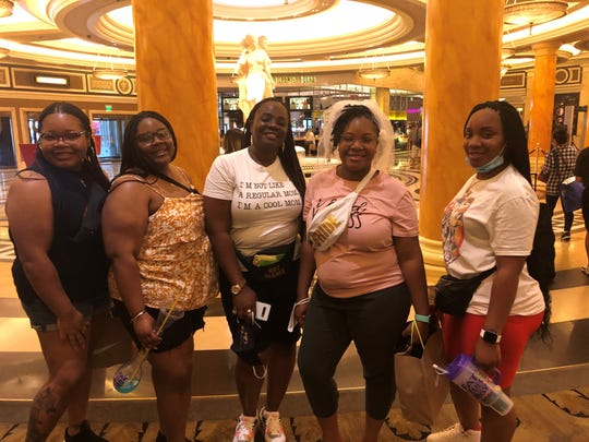 Las Vegas reopened in time for Toni Reddix, in veil,  to visit for her bachelorette party. The group flew in from South Carolina on Friday and stayed at Caesars Palace.