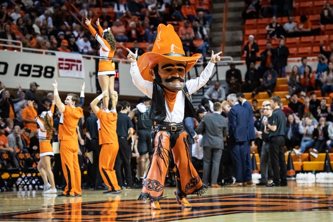 Jan 6, 2020; Stillwater, Oklahoma, USA; Oklahoma State Cowboys mascot Pistol Pete during a time out in the game against the West Virginia Mountaineers at Gallagher-Iba Arena. Mandatory Credit: Rob Ferguson-USA TODAY Sports