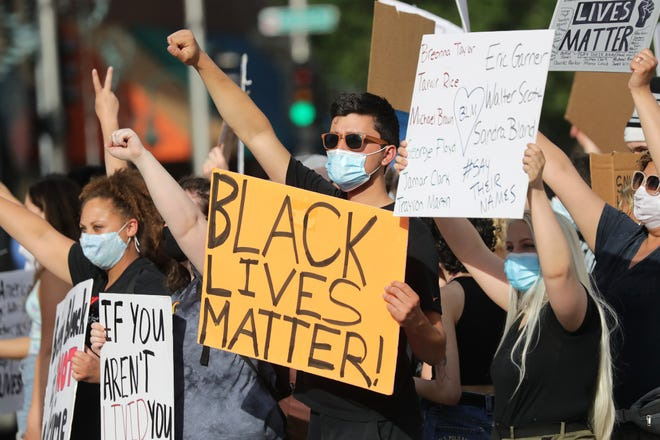 Protesters during a Black Lives Matter protest on Saturday, June 6, 2020, at Houdini Plaza in Appleton, Wis.