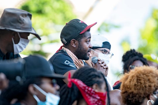 Aaron Nix addresses the crowd gathered for a vigil at Pack Square Park on June 6, 2020. The event followed a march through the city led by black activists with their allies and was the third in a row held in response to the death of George Floyd at the hands of Minneapolis police.