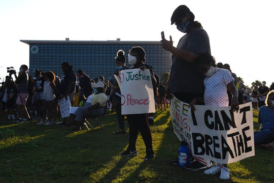 Protesters listen to speakers during the Corpus Christi Black Leadership Standing in Solidarity event, Saturday, June 6, 2020 at Water's Edge Park in Corpus Christi, TX..