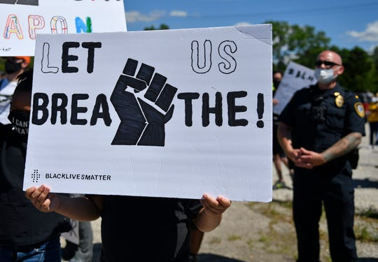 Demonstrators gather in Pemberton Sunday to protest against police violence after the death of Minnesota man George Floyd. June 7, 2020.