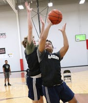 "Jalen Robertson of Southside High School works during a drill at ""The Workout"" at Upward Stars Center in Spartanburg on Saturday."