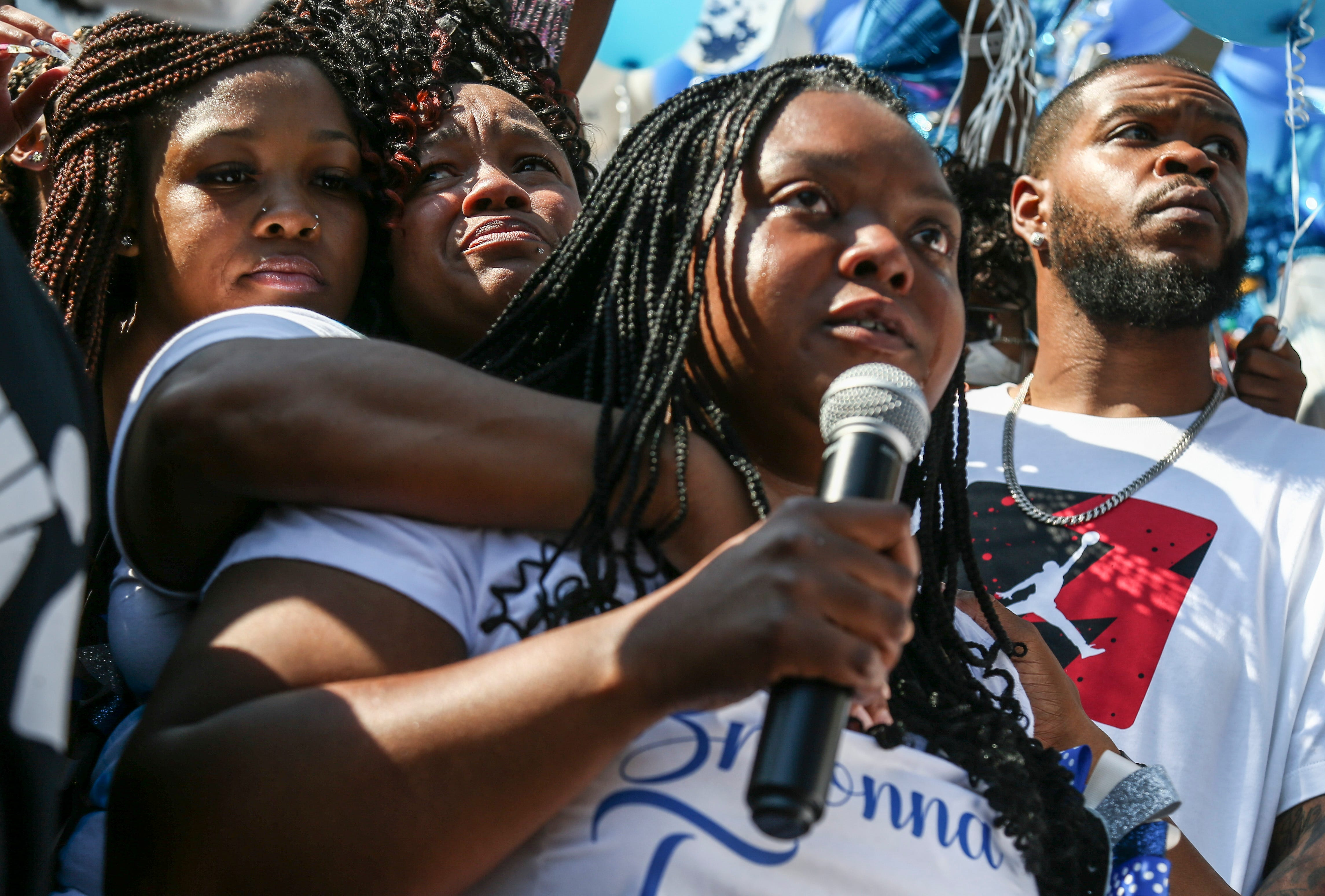 Bianca Austin, aunt of slain EMT Breonna Taylor, remembers her niece Saturday at the steps of Metro Hall.