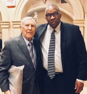 College Football Hall of Fame coach Fred Martinelli with Mansfield City Schools superintendent Stan Jefferson, who was part of Martinelli's coaching staff at Ashland University.