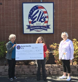The Mountain Home Elks Lodge recently donated $500 to Kindness Inc. to help provide essential services to area seniors who need help to remain independent in their own homes. Shown are (from left) Sherie Brown, Elks president; Judy Light, Kindness Inc. volunteer coordinator; and Lana Ellibee, Elks grant coordinator.
