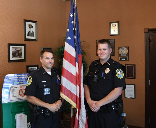 Daniel Shaw (left) and Jackie Denwalt (right) recently joined the Mountain Home Police Department as patrolmen. The two police officers' positions are being funded by the city' public safety sales tax.