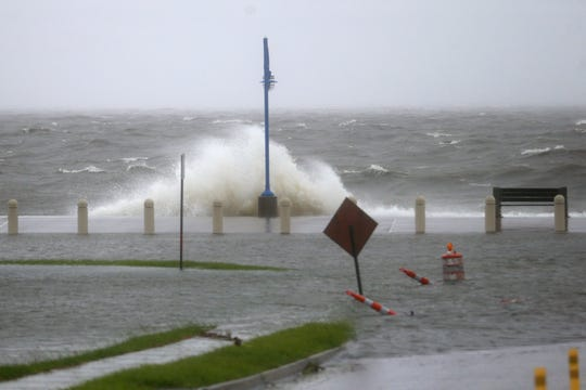 Storm surge from Lake Pontchartrain causes Lakeshore Boulevard to flood as Tropical Storm Cristobal are felt in New Orleans on Sunday morning, June 7, 2020. (Photo by Michael DeMocker)