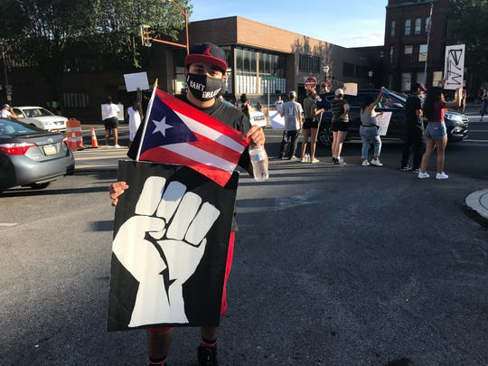 Sergio Medina participates in the Peaceful Protest against Police Brutality in downtown Hanover on Saturday, June 6, 2020.