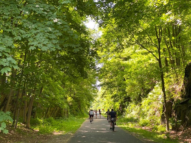 Bikers and runners enjoy the Hudson Valley Rail Trail in Highland on Sunday, June 7, 2020.