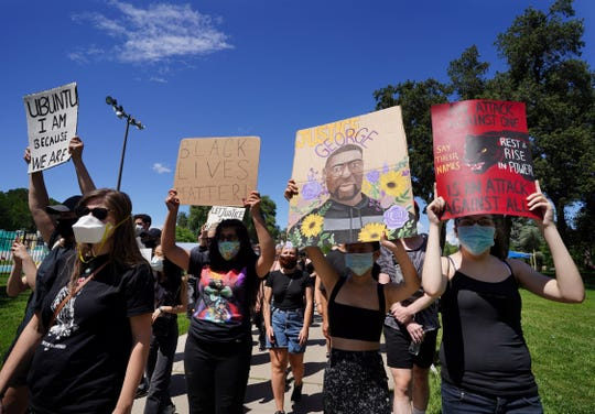 People gathered Saturday, June 6, 2020 at Caldwell Park for a rally and silent march that called for racial justice and the end to police brutality after the death of George Floyd. The Redding March for Justice drew a 1,500-strong crowd.