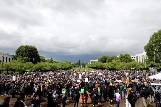 The group of demonstrators stretches from the steps to the mall during the March for George Floyd at the Oregon State Capitol Building in Salem, Oregon, on Saturday, June 6, 2020. More than 2,000 demonstrators showed up for the march.