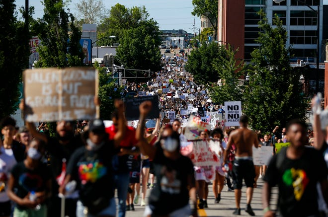 An estimated 2,500 protesters took to Park Central Square and marched in downtown Springfield on Saturday, June 6, 2020, demanding justice for George Floyd and freedom for all black Americans.