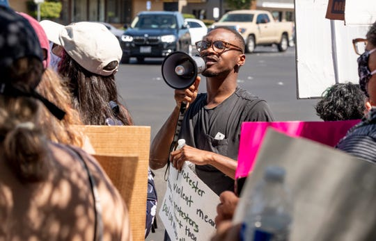 Protesters gathered Saturday, June 6, 2020 to support Back Lives Matter at Mooney Boulevard and Caldwell Avenue.