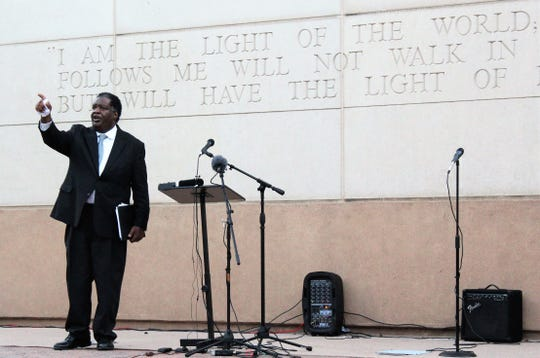 Jerry Taylor, founder of the Carl Spain Center on Race Studies & Spiritual Action, concludes his speech at a community rally at Abilene Christian University June 7.