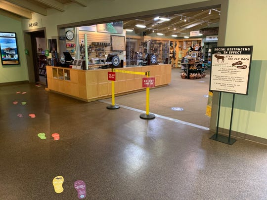 Social distance markings and counter guards have been installed in Great Smoky Mountains National Park visitor centers that reopened to the public June 8 to reduce the spread of coronavirus.