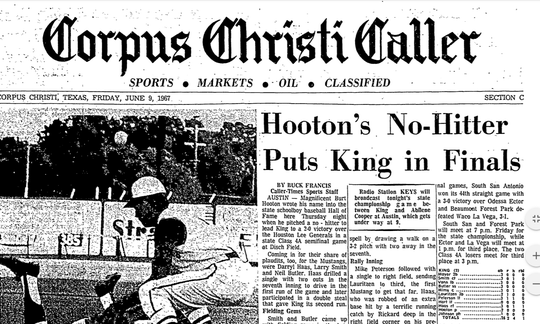 King's Burt Hooton threw a no-hitter against Houston Lee in the Class 4A baseball state semifinals in 1967.
