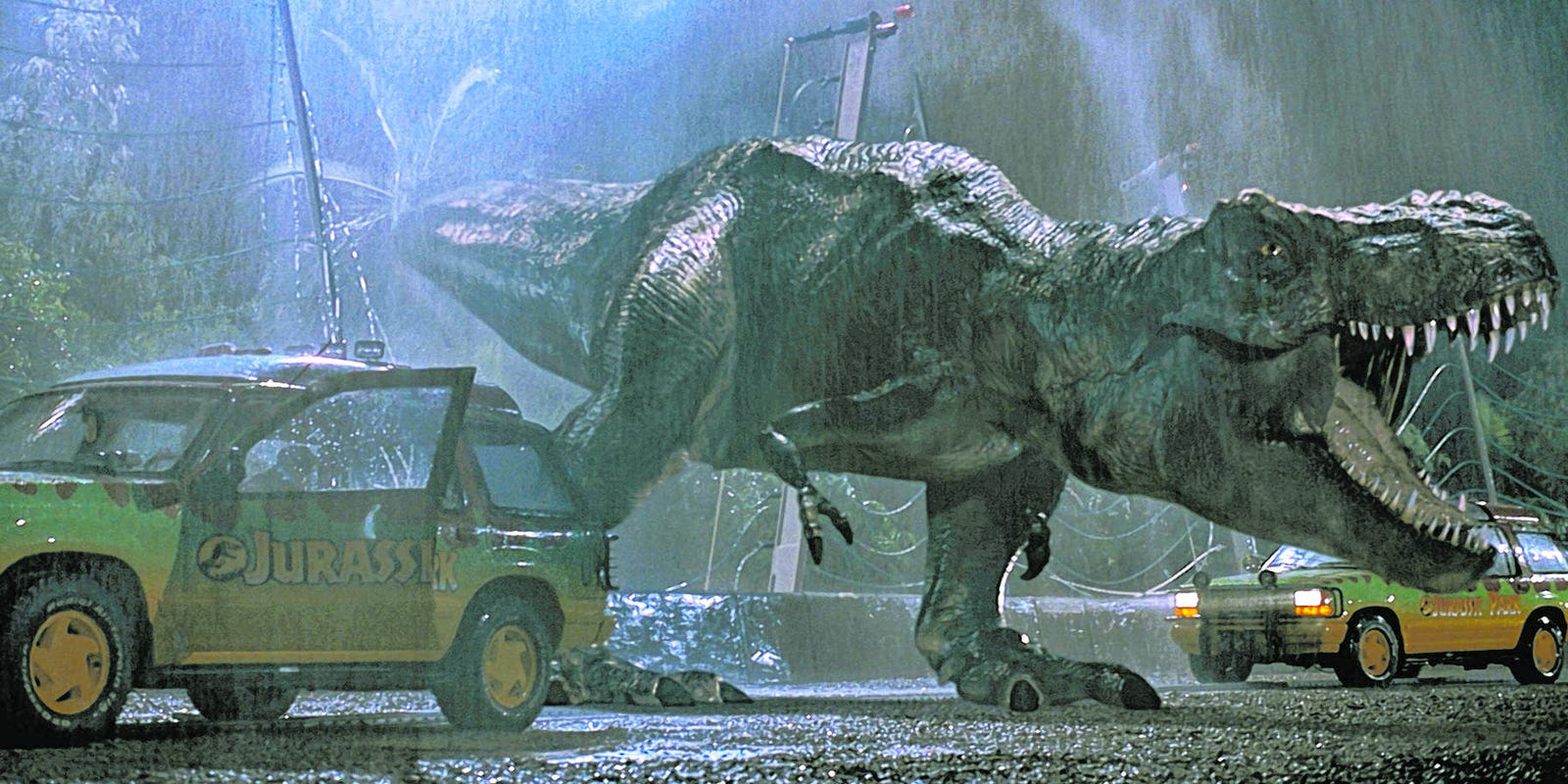 Drive-in movies at Westfield Palm Desert mall with 'Jurassic Park'