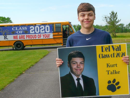 Kurt Talke of Kingwood Township is one of about 190 Del Val seniors who received a lawn sign at home, along with a cap and gown, and other items in advance of their Friday, June 12, drive-thru graduation.