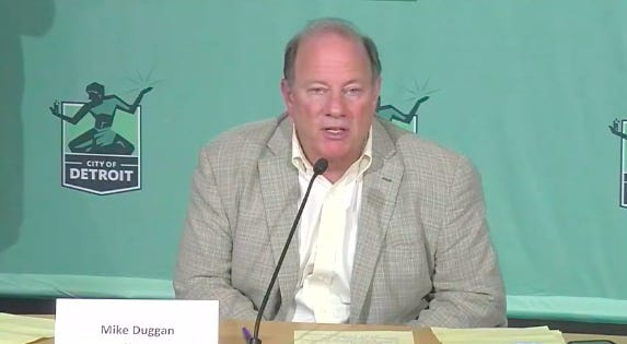 Detroit Mayor Mike Duggan speaks Monday at a press briefing about the police brutality protests happening nightly and the city's response to the coronavirus pandemic.