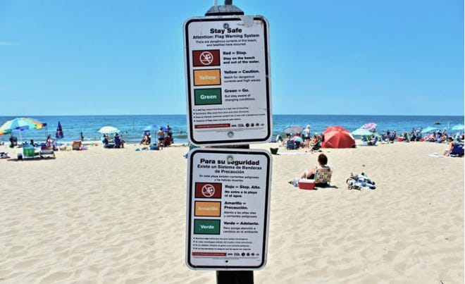 Signs at Holland State Park explain the flag warning system in English and Spanish.