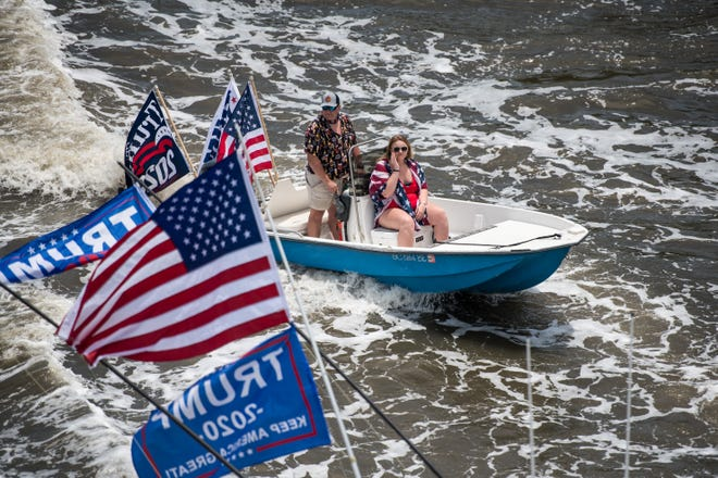 Boaters participate in the Make America Great Again parade May 24, 2020 in Charleston, South Carolina.