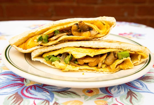 Try making this omelet pita with mushrooms, onions and any other fix-ins you'd like for breakfast.
