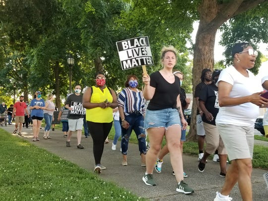 Many at the June 7, 2020, prayer vigil marched around Henderson's Central Park afterward.