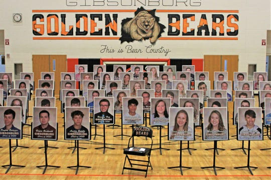 Gibsonburg High School's graduation was held on Sunday with photographs of the graduating class displayed due to the coronavirus COVID-19 restrictions.