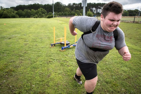 Caleb Murphy, a Wren High School freshman, participated in a drill during practice, Monday, June 8, 2020, the first day workouts resumed.