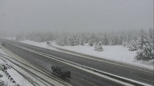Montana's higher elevations, such as Homestake Pass, receive significant amounts of snow after a weekend weather system moved through the state.