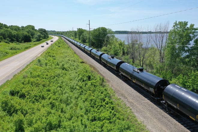Some 230 empty ethanol cars are among 800-900 total rail cars now stored by CRANDIC railway between North Liberty and the Eastern Iowa Airport. These tankers can be seen along Highway 965 near the north end of Coralville Lake.