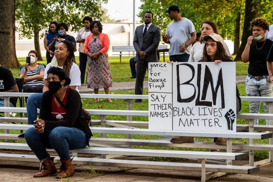 Chandra Maclin and Leven Ward sit at Vikings Park to peacefully protest against the police violence towards the African American Community in Humboldt, Tenn., Thursday,  June 4, 2020.