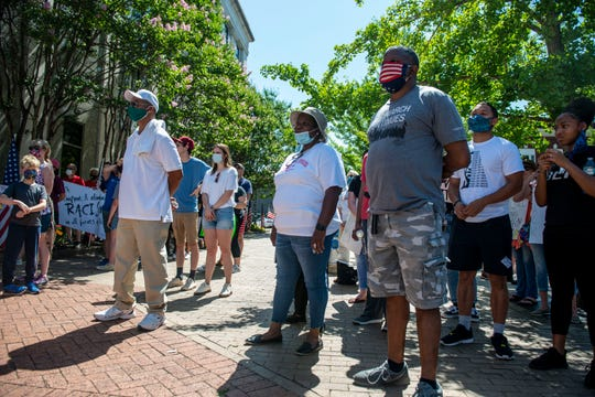 Madison County comes together to protest in the Unity March against police violence towards African Americans, Saturday, June 6, 2020. The protest began at Civic Center to Jackson City Hall.