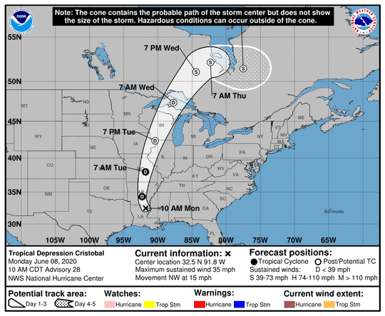 Tropical Depression Cristobal, which made landfall in Louisiana Sunday, is moving north on Monday and weakening. It's still expected to bring rain, flooding and isolated tornadoes.