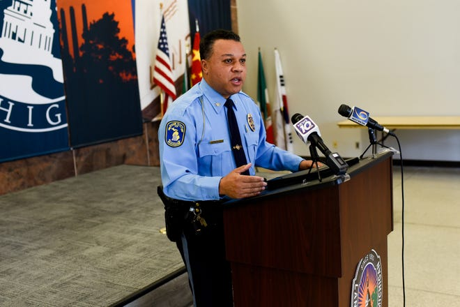 Lansing Police Chief Daryl Green speaks about the May 31 protest during a press conference on Monday, June 8, 2020, in Lansing