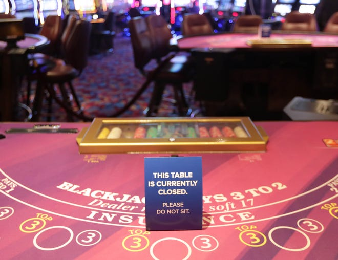 All table games will remain closed at Potawatomi Hotel and Casino in Milwaukee on Monday, June 8, 2020. The casino and hotel, closed due to the coronavirus, are now reopened with several changes including only offering slot machines with plexiglass on each slot. Customers are required to wear a mask and only existing Fire Keeper's Club members are welcome at this time. Mike De Sisti / Milwaukee Journal Sentinel