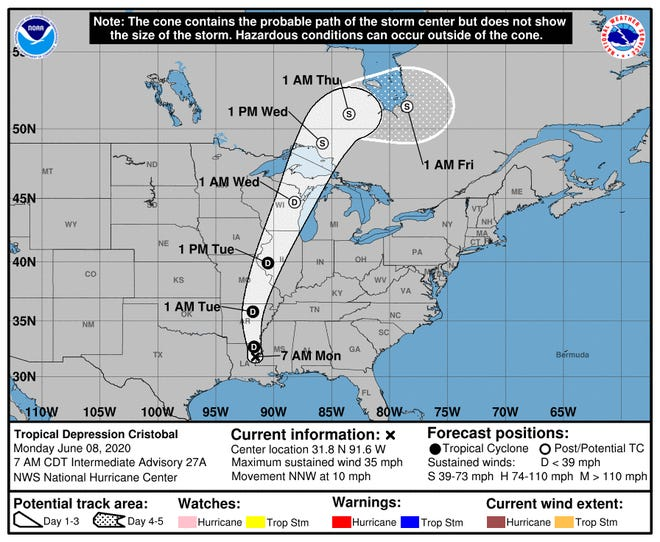 The path of Tropical Storm Cristobal is expected to move through Wisconsin Tuesday and Wednesday, unleashing heavy rains and gusty winds. Credit: National Hurricane Center