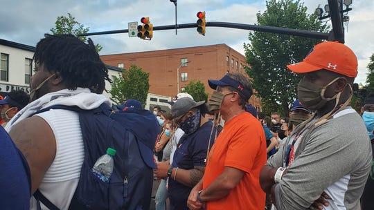 Auburn head football coach Gus Malzahn (center) at the Black Lives Matter rally at Toomer's Corner on Sunday, June 7, 2020.